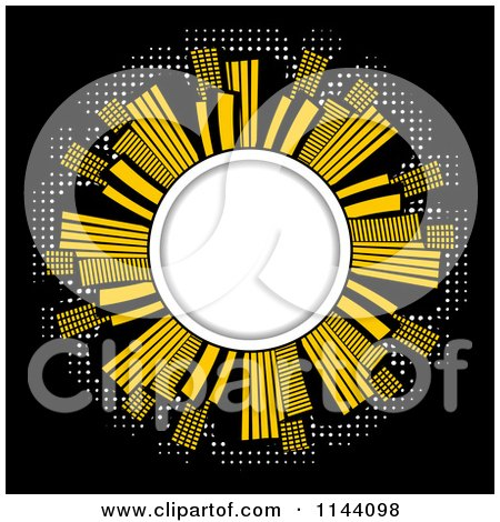 Clipart of an Illuminated City of Skyscrapers Around a Globe on Black - Royalty Free Vector Illustration by elaineitalia