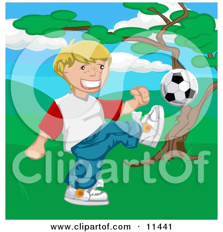 Happy Blond Boy Kicking a Soccer Ball Posters, Art Prints