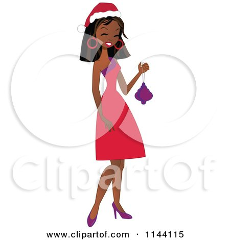 Cartoon of a Happy Black Christmas Woman Holding a Bauble - Royalty Free Vector Clipart by peachidesigns