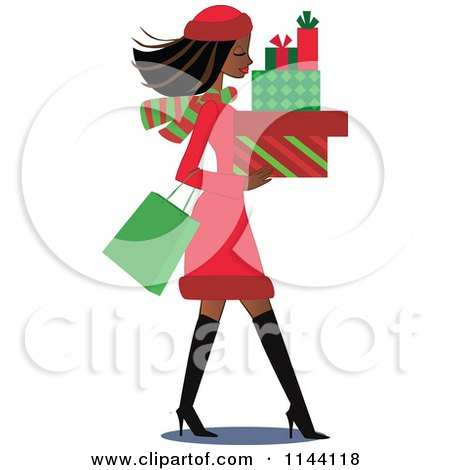 Cartoon of a Shopping Black Christmas Woman Carrying Gift Boxes - Royalty Free Vector Clipart by peachidesigns
