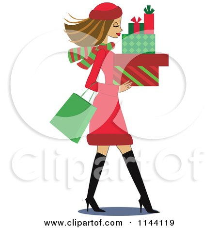 Cartoon of a Shopping Brunette Christmas Woman Carrying Gift Boxes - Royalty Free Vector Clipart by peachidesigns