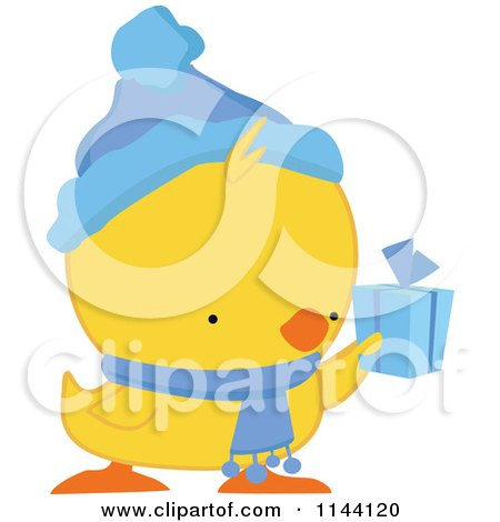 Cartoon of a Cute Christmas Duckling or Chick Holding a Present - Royalty Free Vector Clipart by peachidesigns