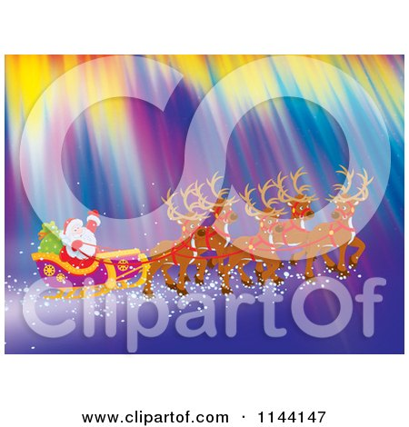 Cartoon of Santa Waving While Flying with His Sleigh and Reindeer Through Northern Lights - Royalty Free Clipart by Alex Bannykh