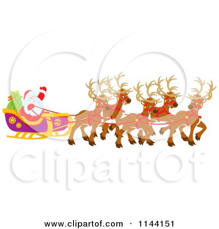Cartoon of Magic Reindeer and Santa Waving from His Sleigh ...