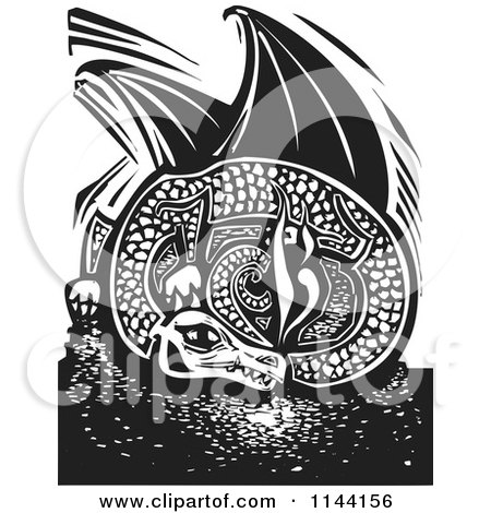 Clipart of a Black and White Resting Fire Breathing Dragon Woodcut - Royalty Free Vector Illustration by xunantunich
