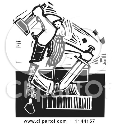 Clipart of a Black and White Blacksmith Forging a Sword Woodcut - Royalty Free Vector Illustration by xunantunich