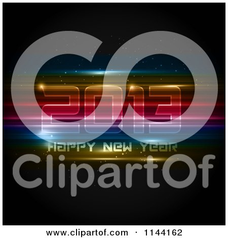 Clipart of a Neon Futuristic Happy New Year 2013 Background - Royalty Free Vector Illustration by KJ Pargeter