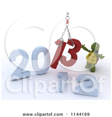 Clipart of a 3d New Year Tortoise Replacing 2012 with 2013 - Royalty Free CGI Illustration by KJ Pargeter