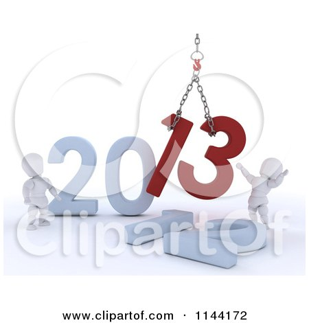 Clipart of 3d New Year White Characters Replacing 2012 with 2013 - Royalty Free CGI Illustration by KJ Pargeter