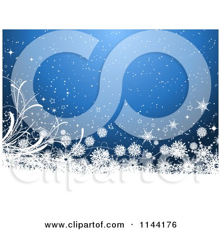 Clipart of a Blue Christmas Background with Stars and Snowflake Grunge - Royalty Free Vector Illustration by KJ Pargeter