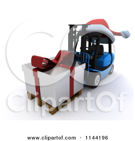 Clipart of a 3d Silver Christmas Delivery Gift on a Blue Forklift - Royalty Free CGI Illustration by KJ Pargeter