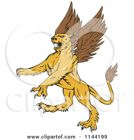 Clipart of a Retro Aggressive Griffin - Royalty Free Vector Illustration by patrimonio