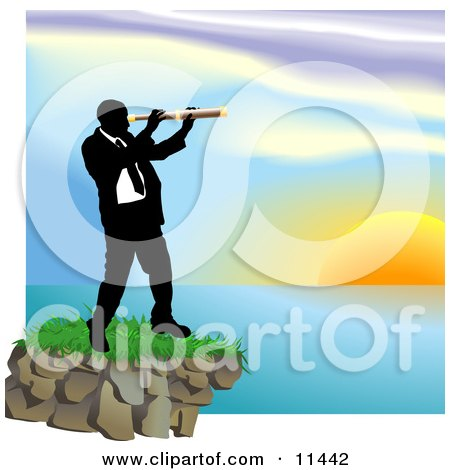 Businessman Looking Through a Telescope Across a Waterscape Posters, Art Prints