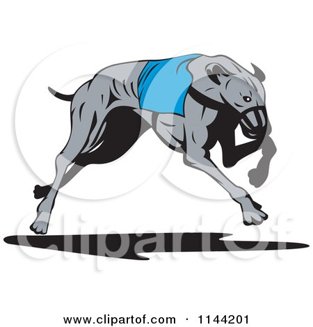 Clipart of a Retro Running Greyhound Dog 3 - Royalty Free Vector Illustration by patrimonio