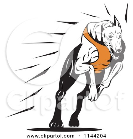 Clipart of a Retro Running Greyhound Dog 2 - Royalty Free Vector Illustration by patrimonio