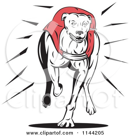 Clipart of a Retro Running Greyhound Dog 1 - Royalty Free Vector Illustration by patrimonio