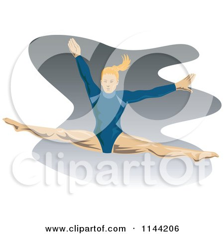Clipart of a Jumping Gymnast Woman 1 - Royalty Free Vector Illustration by patrimonio