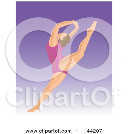 Clipart of a Jumping Gymnast Woman 2 - Royalty Free Vector Illustration by patrimonio