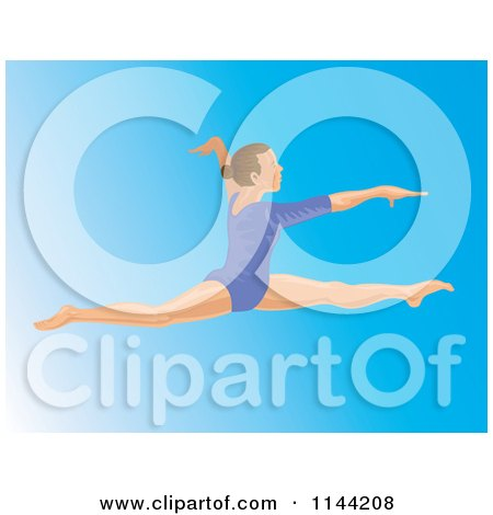 Clipart of a Jumping Gymnast Woman 3 - Royalty Free Vector Illustration by patrimonio