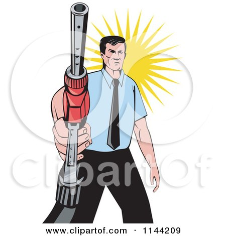 Clipart of a Retro Man Holding a Gas Station Pump Nozzle - Royalty Free Vector Illustration by patrimonio