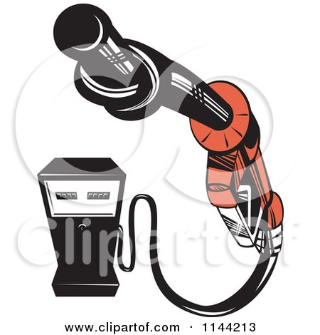 Clipart of a Retro Gas Station Pump and Knotted Nozzle - Royalty Free Vector Illustration by patrimonio