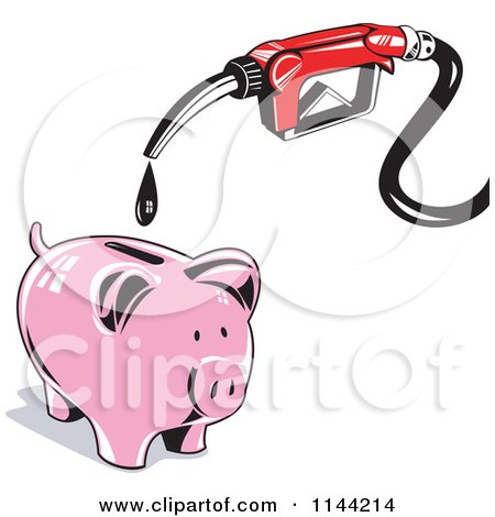 Clipart of a Retro Gas Station Pump Nozzle Dripping into a Piggy Bank - Royalty Free Vector Illustration by patrimonio
