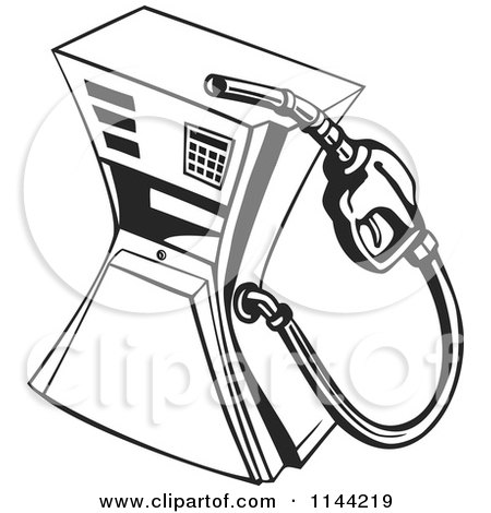 Clipart of a Black and White Retro Gas Station Pump - Royalty Free Vector Illustration by patrimonio