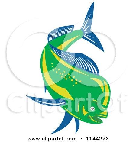 Clipart of a Retro Mahi Mahi Dolphin Fish Swimming 1 - Royalty Free Vector Illustration by patrimonio