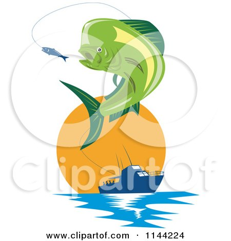 Clipart of a Retro Mahi Mahi Dolphin Fish Jumping to Bite a Lure with a Boat at Sunset - Royalty Free Vector Illustration by patrimonio