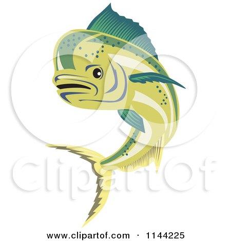 Clipart of a Retro Mahi Mahi Dolphin Fish Swimming 2 - Royalty Free Vector Illustration by patrimonio