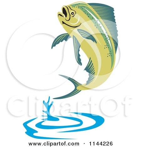 clipart of a retro mahi mahi dolphin fish jumping royalty free vector illustration by. Black Bedroom Furniture Sets. Home Design Ideas