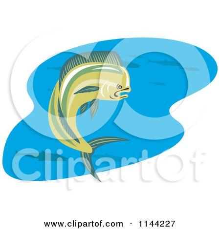 Clipart of a Retro Mahi Mahi Dolphin Fish Swimming 3 - Royalty Free Vector Illustration by patrimonio