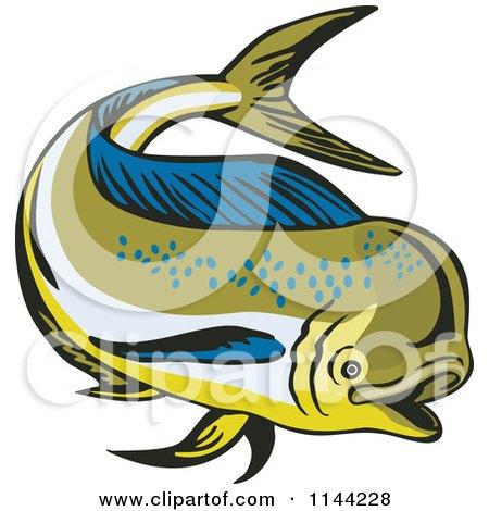 Clipart of a Retro Mahi Mahi Dolphin Fish Swimming 4 - Royalty Free Vector Illustration by patrimonio