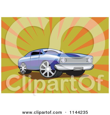 Clipart of a Retro Blue Ford Fairmont Muscle Car over Rays - Royalty Free Vector Illustration by patrimonio