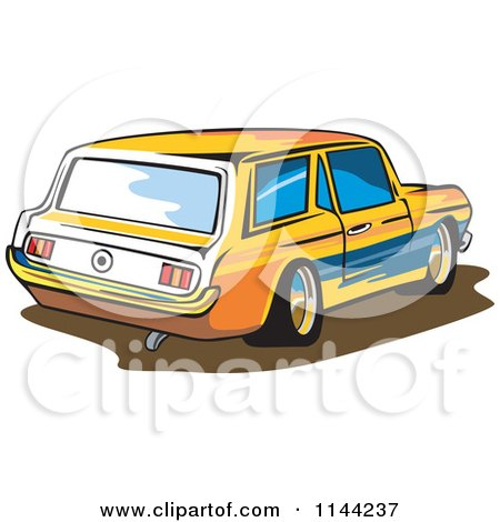 Clipart of a Retro Ford Mustang Station Wagon Car - Royalty Free Vector Illustration by patrimonio