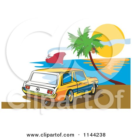 Clipart of a Retro Ford Mustang Station Wagon Car on a Beach - Royalty Free Vector Illustration by patrimonio