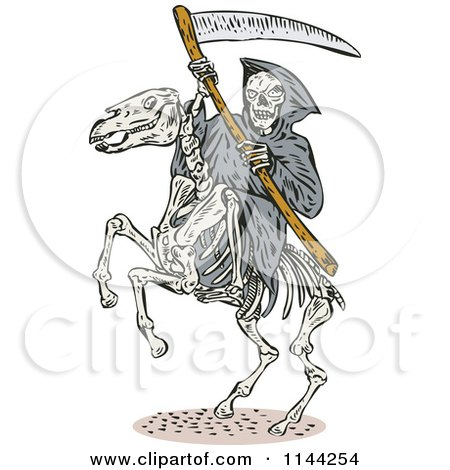 Clipart of a Skeleton Grim Reaper with a Scythe on a Horse - Royalty Free Vector Illustration by patrimonio