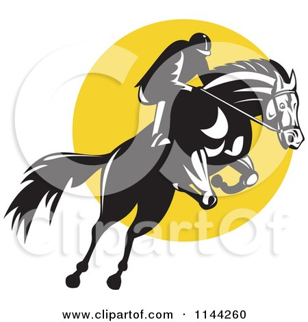 Clipart of a Retro Equestrian on a Leaping Horse over a Yellow Circle - Royalty Free Vector Illustration by patrimonio