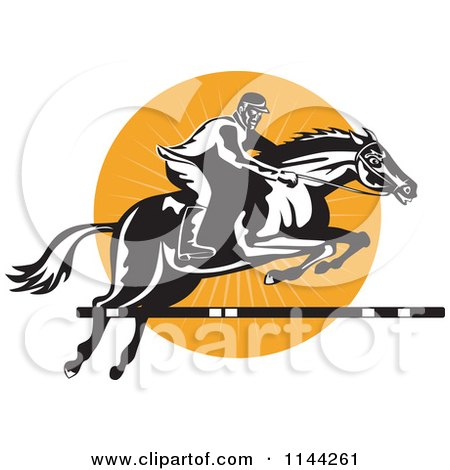 Clipart of a Retro Equestrian on a Leaping Horse over an Orange Circle 1 - Royalty Free Vector Illustration by patrimonio