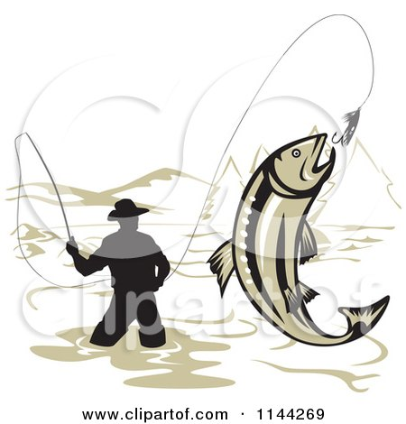 Clipart of a Wading Fisherman and Leaping Trout - Royalty Free Vector Illustration by patrimonio