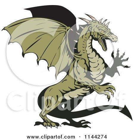 Clipart of a Retro Green Aggressive Dragon - Royalty Free Vector Illustration by patrimonio