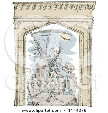 Clipart of a Sketched Grim Reaper in a Cemetery with an Arch Frame - Royalty Free Vector Illustration by patrimonio