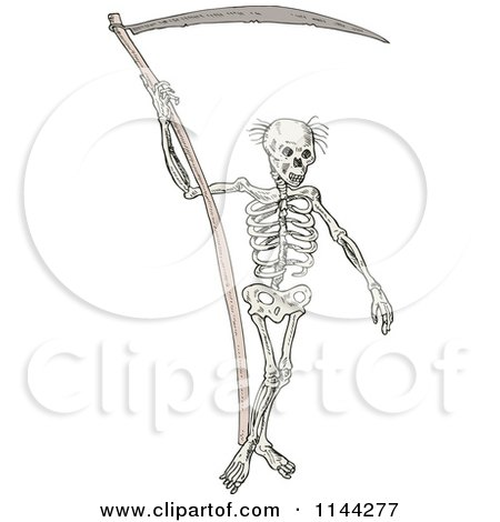 Clipart of a Grim Reaper Skeleton with a Scythe - Royalty Free Vector Illustration by patrimonio