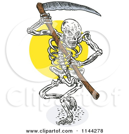 Clipart of a Skeleton Grim Reaper with a Scythe - Royalty Free Vector Illustration by patrimonio
