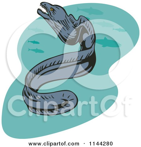 Clipart of a Moray Eel and Fish - Royalty Free Vector Illustration by patrimonio