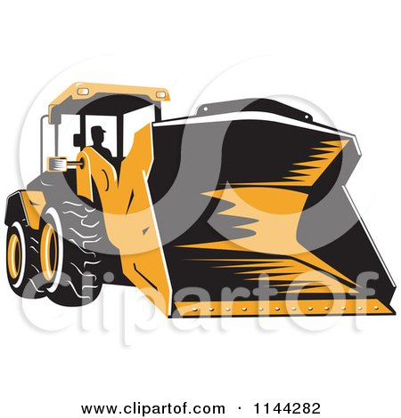 Clipart of a Retro Front Loader Bulldozer and Operator - Royalty Free Vector Illustration by patrimonio
