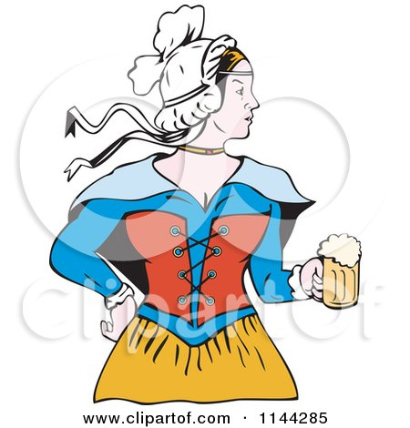 Clipart of a Retro Victorian Beer Maiden - Royalty Free Vector Illustration by patrimonio
