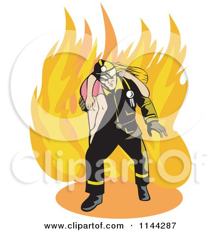 Clipart of a Fireman Rescuing a Woman - Royalty Free Vector Illustration by patrimonio