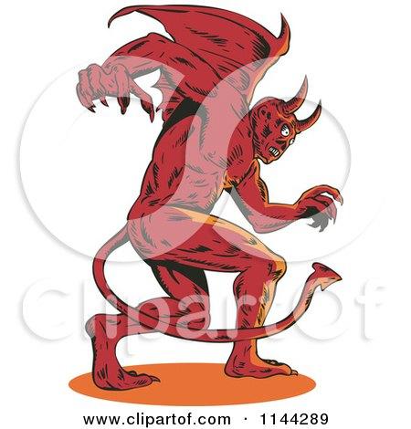 Clipart Of A Retro Aggressive Demon Or Devil Royalty Free Vector Illustration