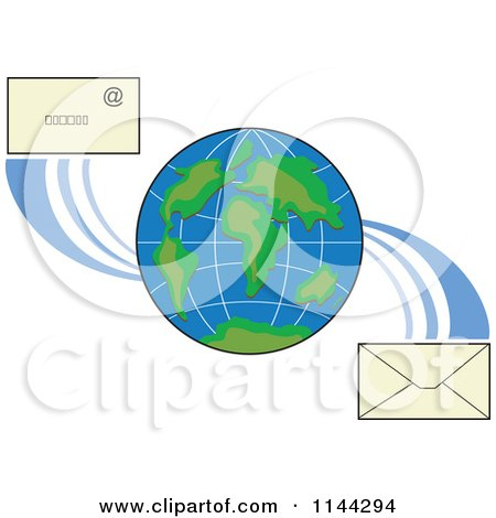 Clipart of a Globe with Email Envelopes - Royalty Free Vector Illustration by patrimonio